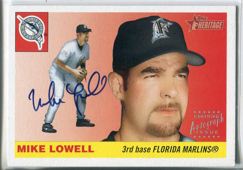 Mike Lowell Autographed 2004 Topps Heritage Card PSM-Powers Sports Memorabilia