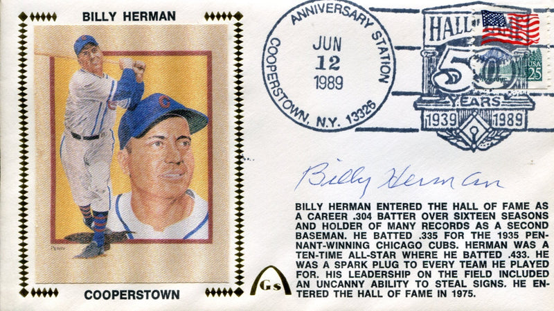 Billy Herman Autographed First Day Cover PSM-Powers Sports Memorabilia