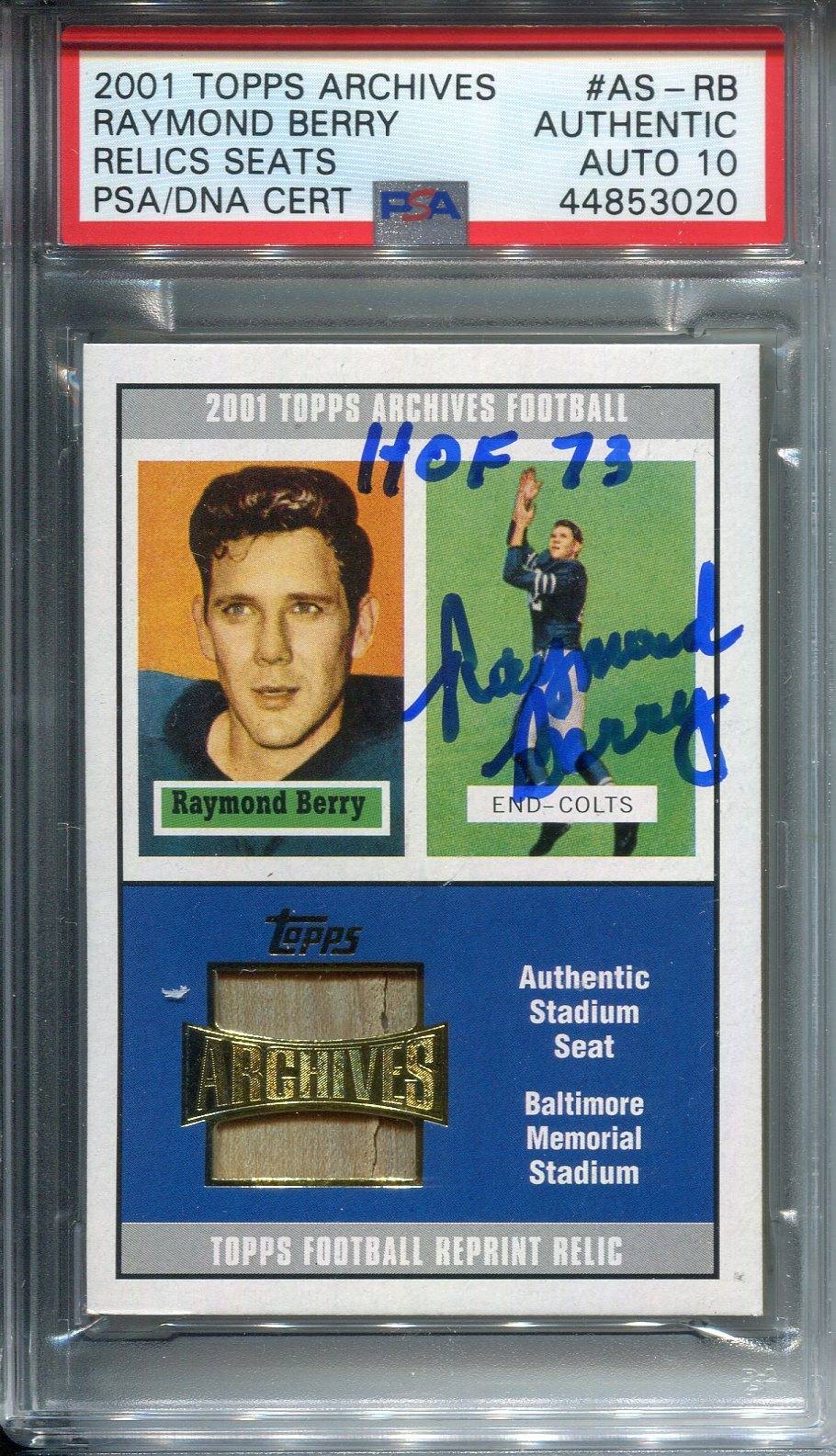 "Raymond Berry ""HOF 73"" Autographed 2001 Topps Archives Relic Card (PSA) PSM-Powers Sports Memorabilia"