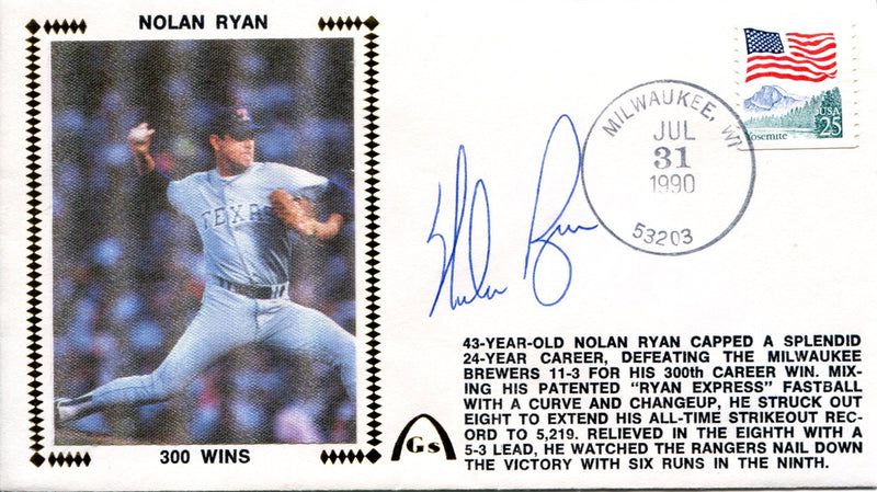 Nolan Ryan Autographed July 31, 1990 First Day Cover (JSA) PSM-Powers Sports Memorabilia