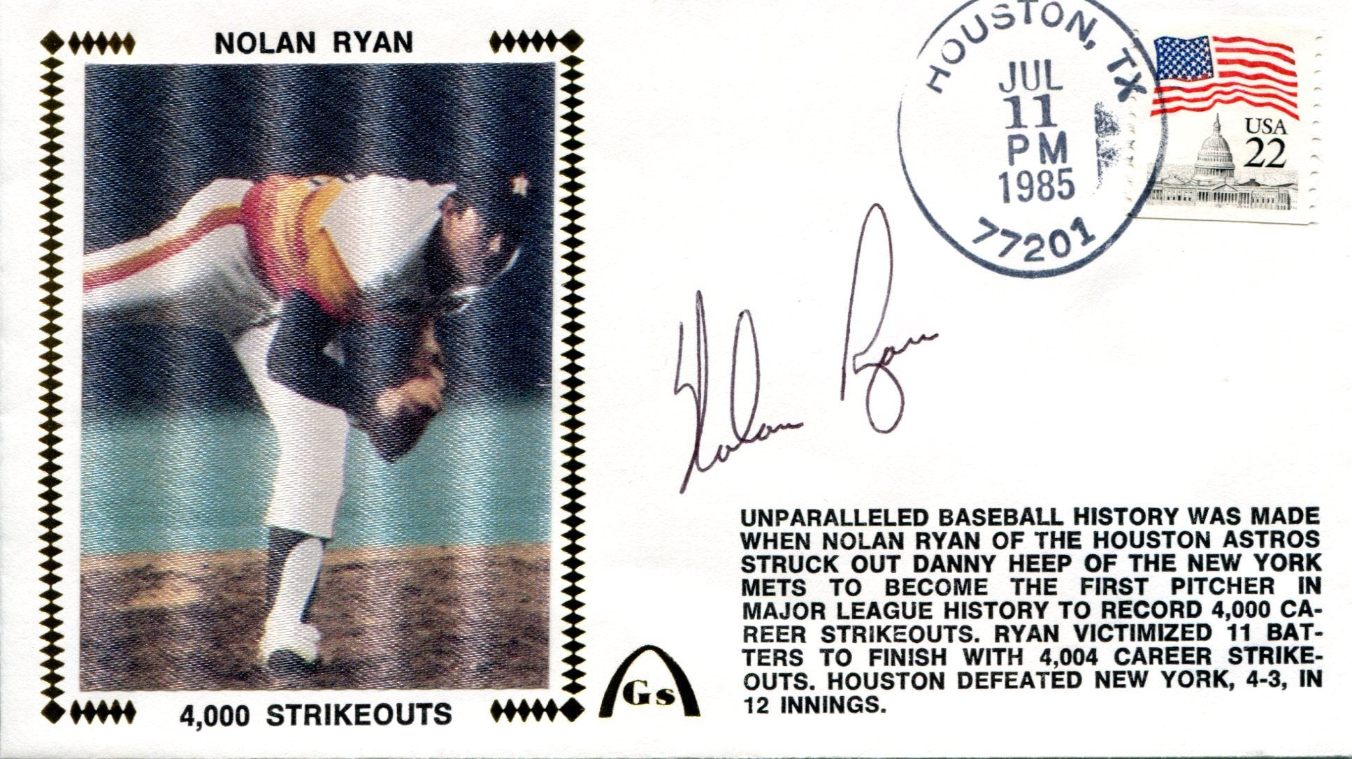 Nolan Ryan Autographed July 11, 1985 First Day Cover (JSA) PSM-Powers Sports Memorabilia