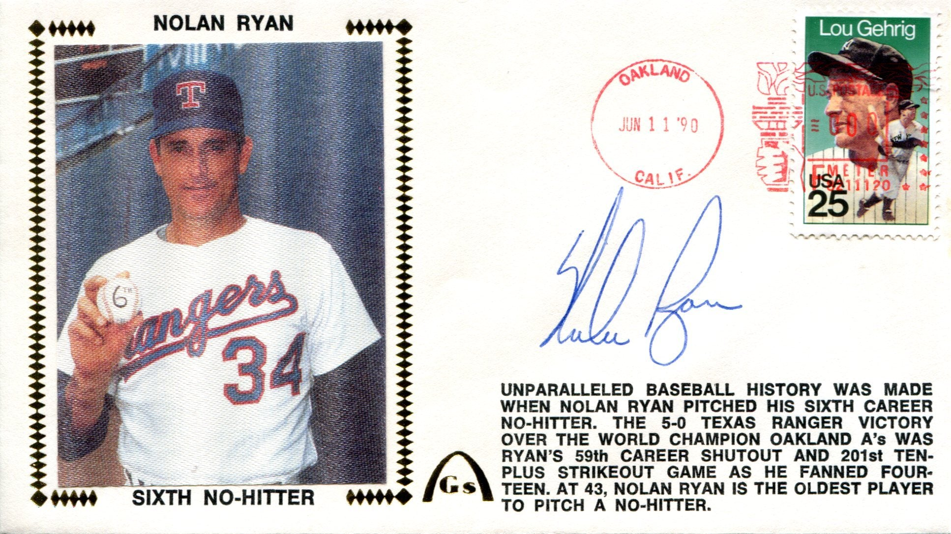 Nolan Ryan Autographed June 11, 1990 First Day Cover (JSA) PSM-Powers Sports Memorabilia