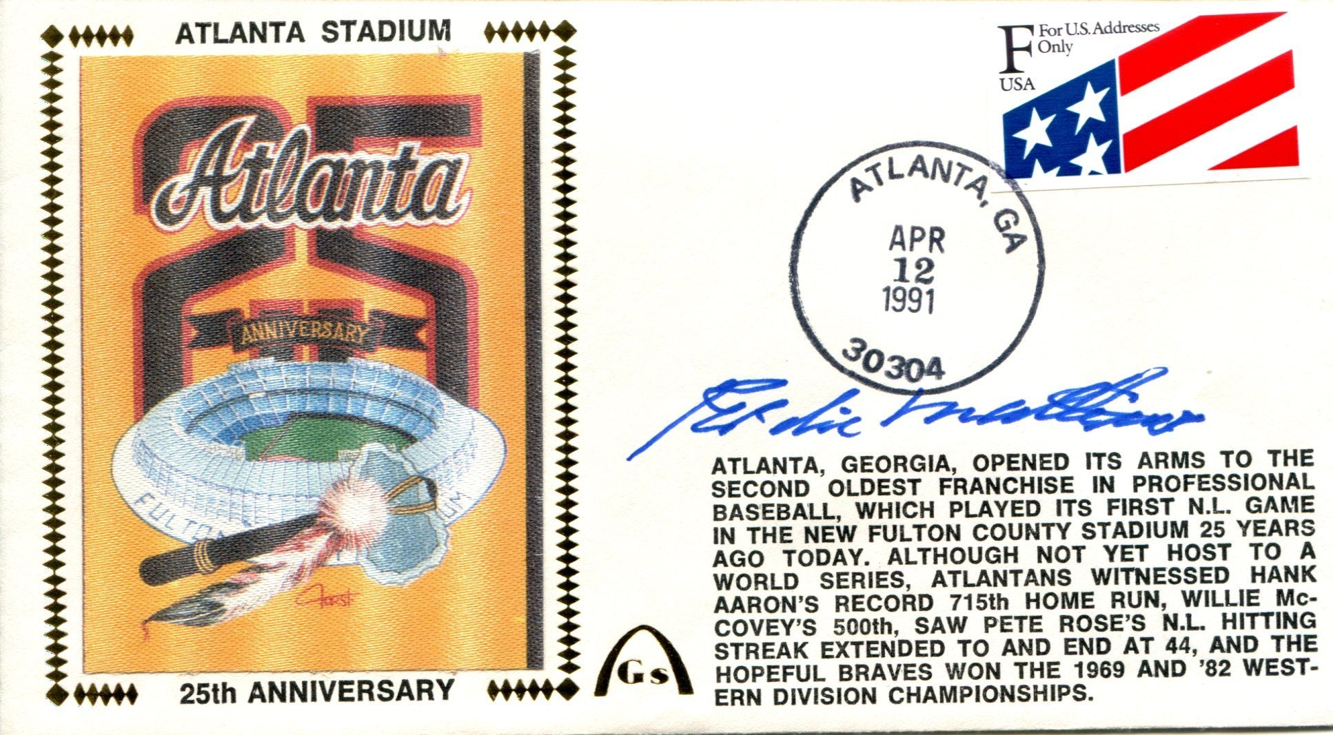 Eddie Mathews Autographed April 12, 1991 First Day Cover (JSA) PSM-Powers Sports Memorabilia