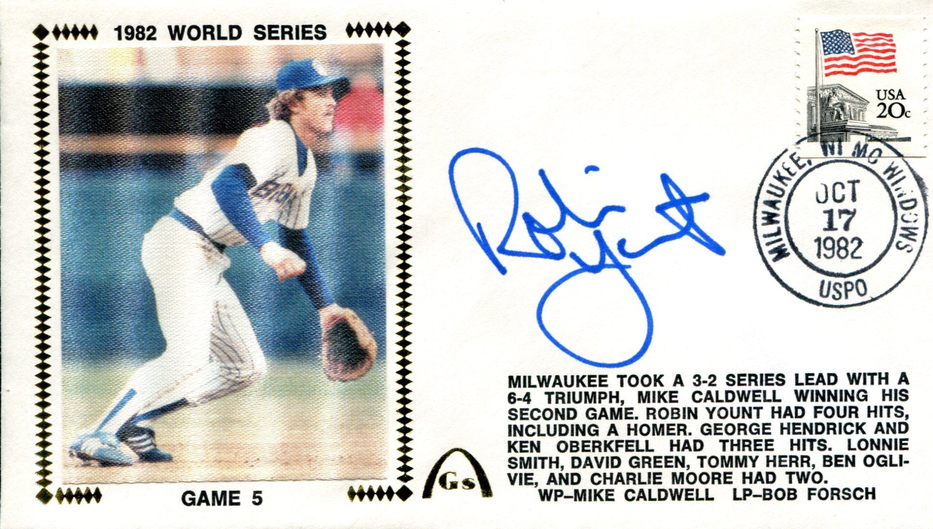 Robin Yount Autographed First Day Cover PSM-Powers Sports Memorabilia