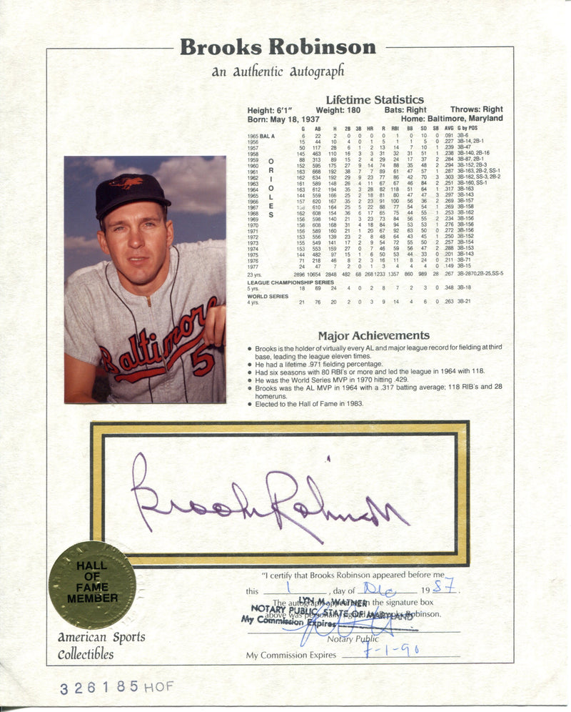 Brooks Robinson Autographed American Sports Collectibles HOF Plaque 8x10 Card PSM-Powers Sports Memorabilia
