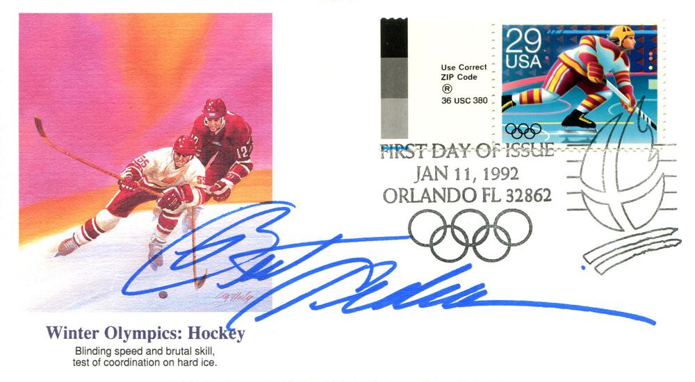 Brett Hedican Autographed First Day Cover PSM-Powers Sports Memorabilia