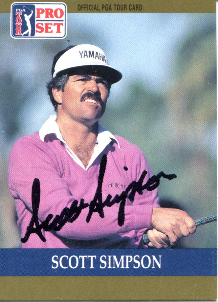 Scott Simpson Autographed 1990 Pro Set Card PSM-Powers Sports Memorabilia