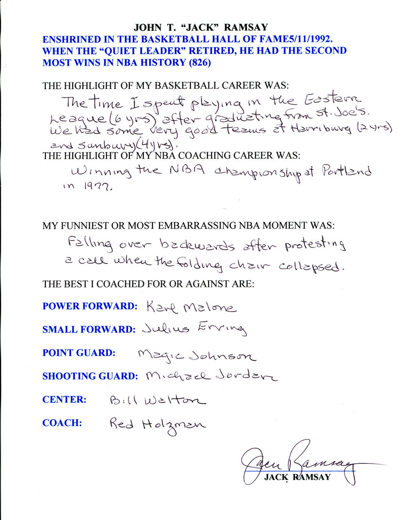 Jack Ramsey Autographed Hand Filled Out Survey Page (JSA) PSM-Powers Sports Memorabilia