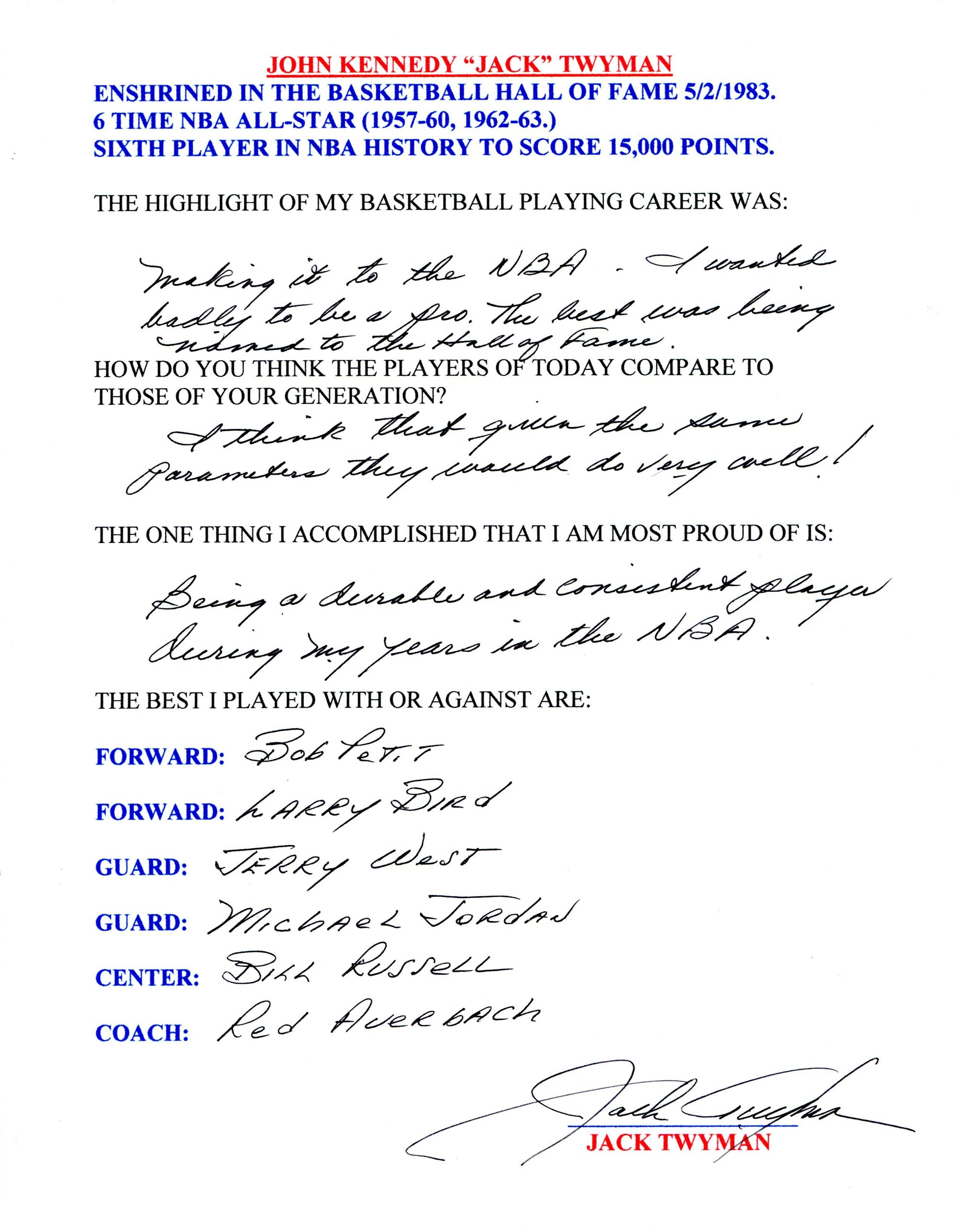 Jack Twyman Autographed Hand Filled Out Survey Page (JSA) PSM-Powers Sports Memorabilia