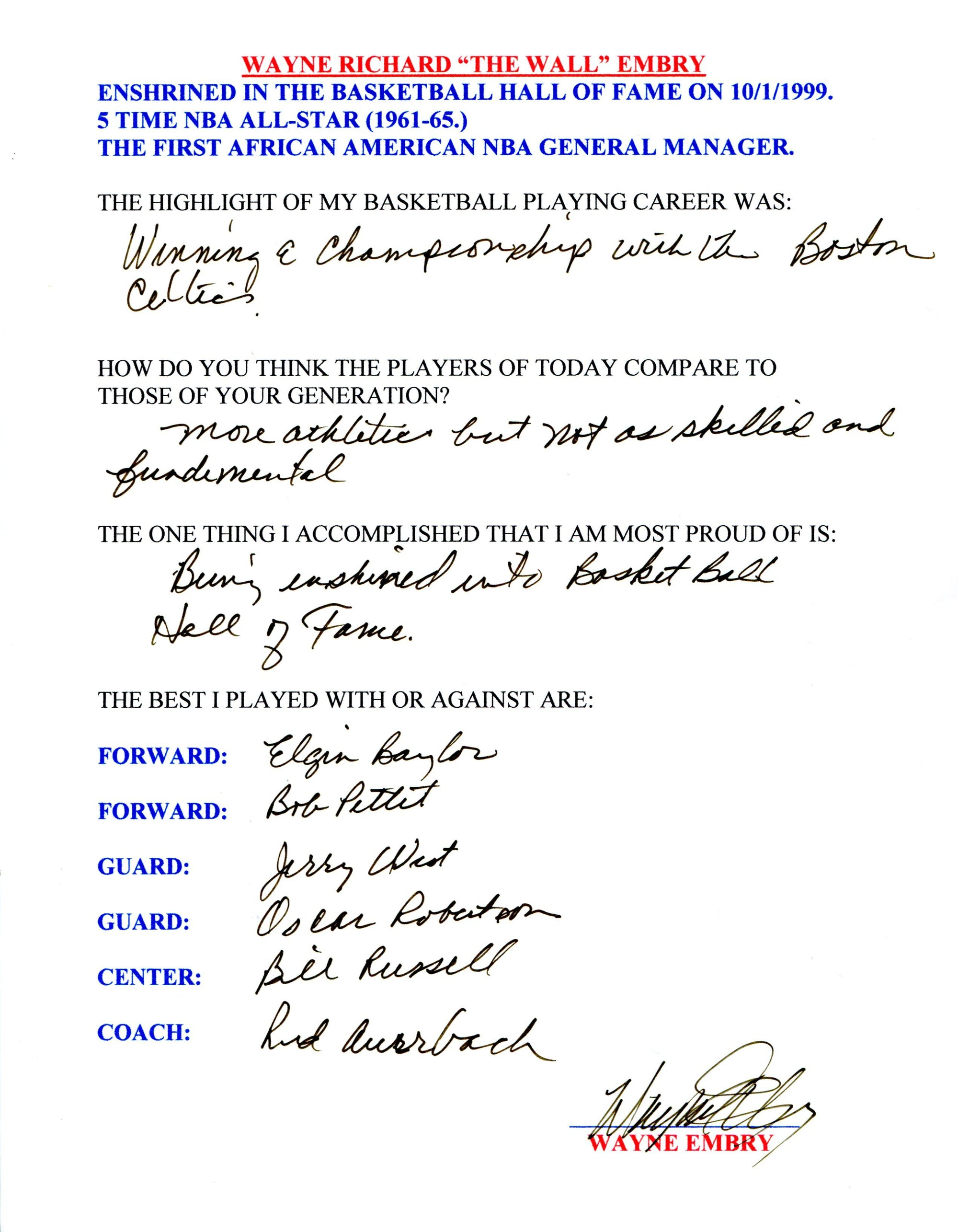 Wayne Embry Autographed Hand Filled Out Survey Page (JSA) PSM-Powers Sports Memorabilia