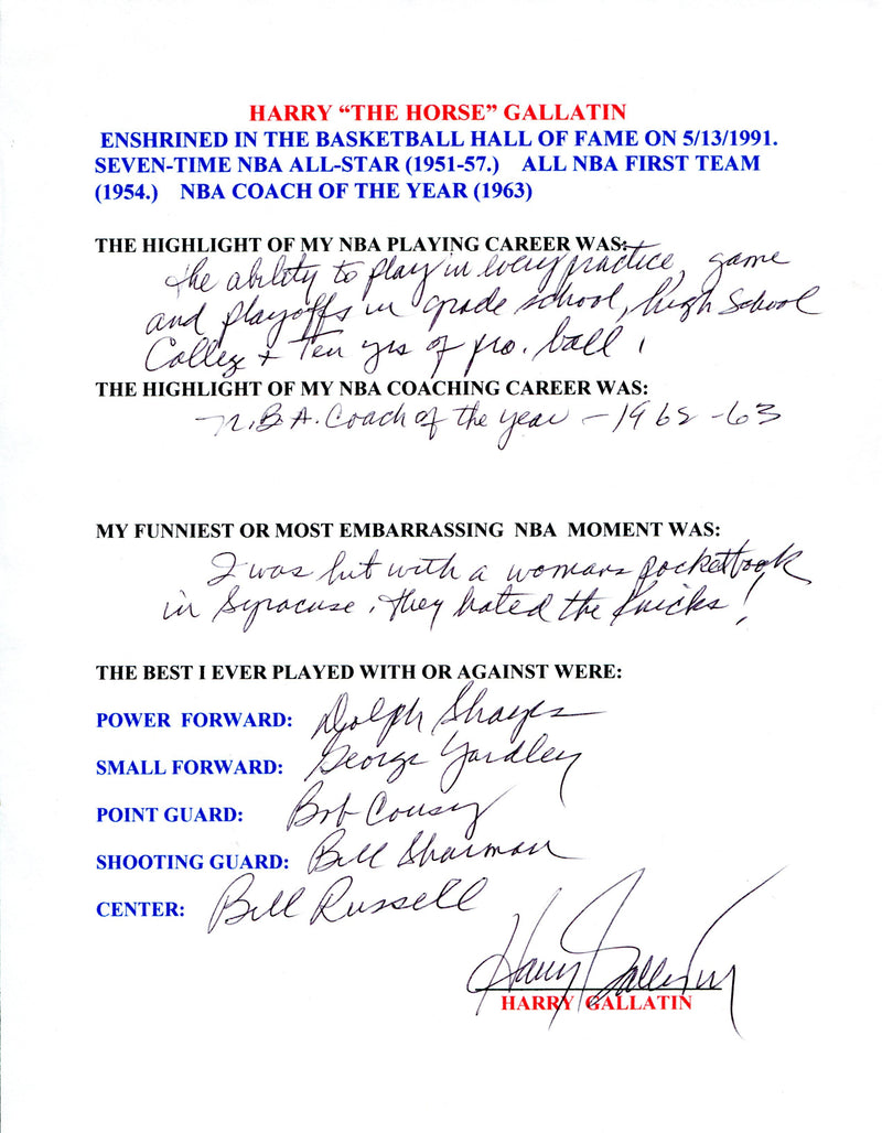 Harry Gallatin Autographed Hand Filled Out Survey Page (JSA) PSM-Powers Sports Memorabilia