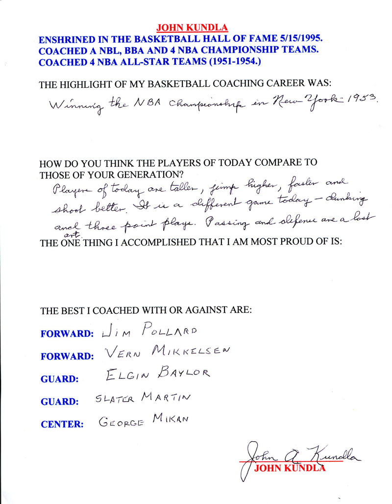 John Kundla Autographed Hand Filled Out Survey Page (JSA) PSM-Powers Sports Memorabilia