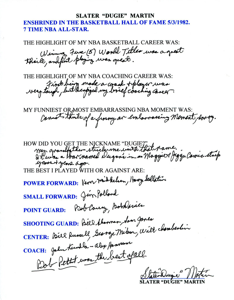 "Slater ""Dugie"" Martin Autographed Hand Filled Out Survey Page (JSA) PSM-Powers Sports Memorabilia"