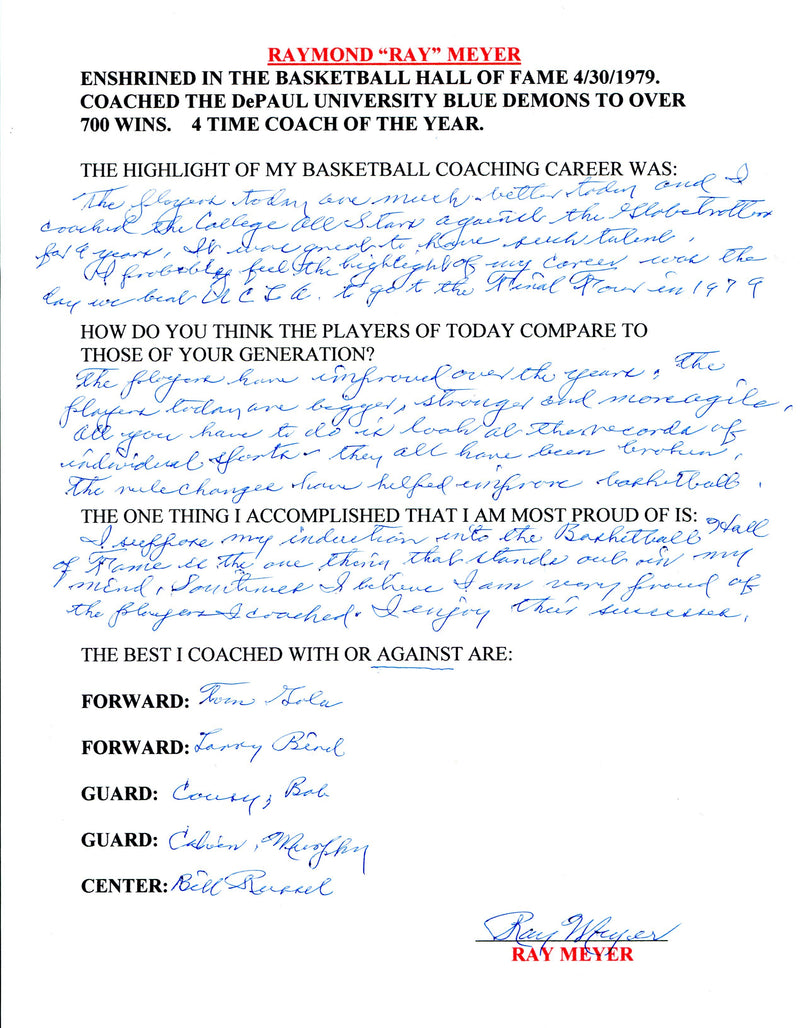 Ray Meyer Autographed Hand Filled Out Survey Page (JSA) PSM-Powers Sports Memorabilia
