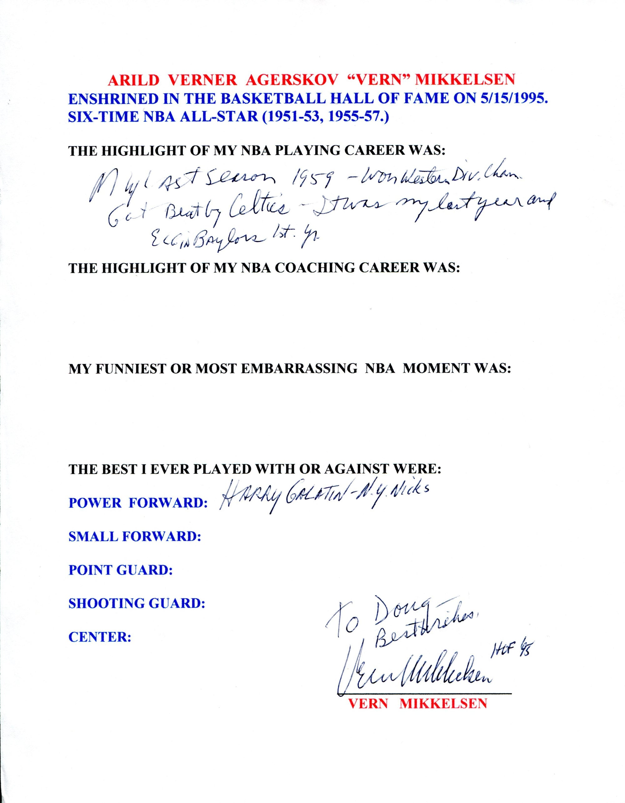 Vern Mikkelsen Autographed Hand Filled Out Survey Page (JSA) PSM-Powers Sports Memorabilia