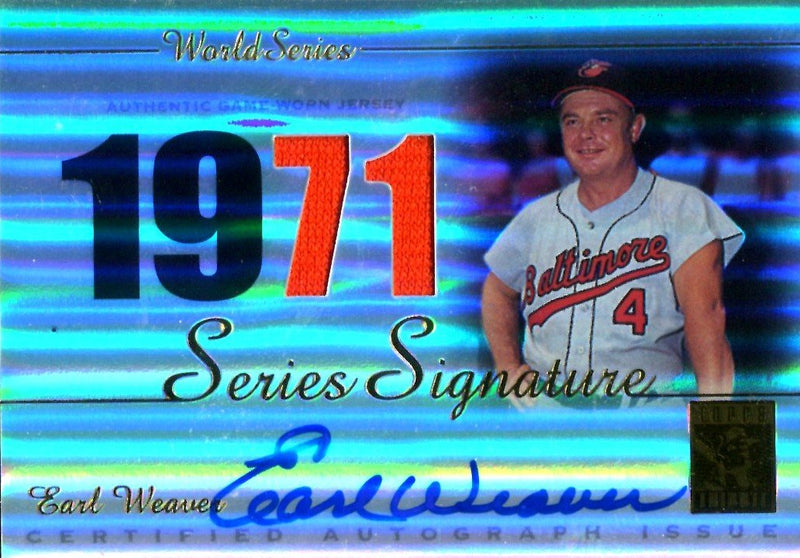 Earl Weaver 2003 Topps Series Signatures Autographed Card/Game-Worn Jersey PSM-Powers Sports Memorabilia