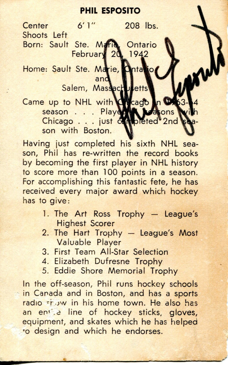 Phil Esposito Autographed 3x5 Card (JSA) PSM-Powers Sports Memorabilia