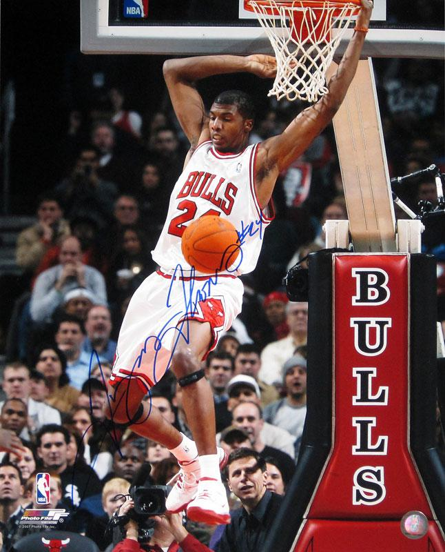 Tyrus Thomas Autographed Chicago Bulls Reverse Dunk 16x20 Photo PSM-Powers Sports Memorabilia