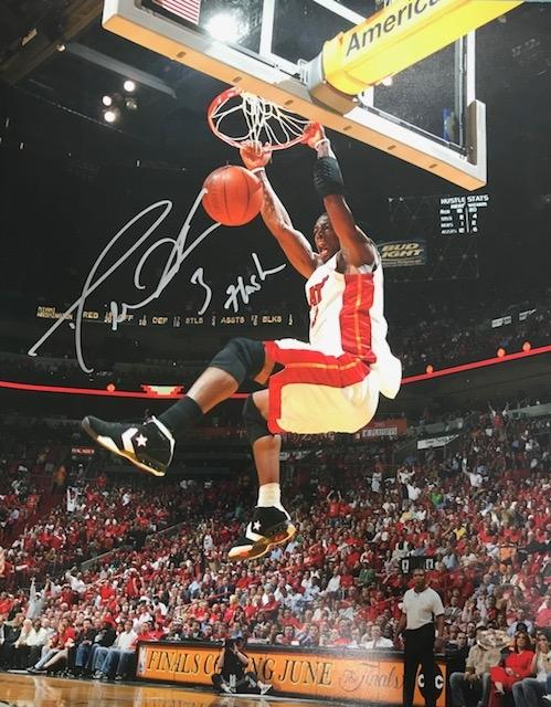 "Dwyane Wade Autographed ""Flash"" 2 Hand Dunk 16x20 Photo PSM-Powers Sports Memorabilia"