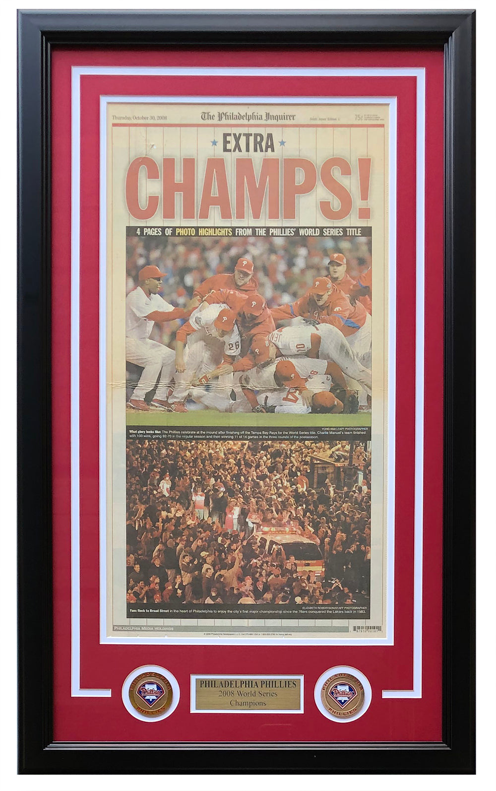 Philadelphia Phillies Framed October 30 2008 Philadelphia Inquirer Cover Page PSM-Powers Sports Memorabilia