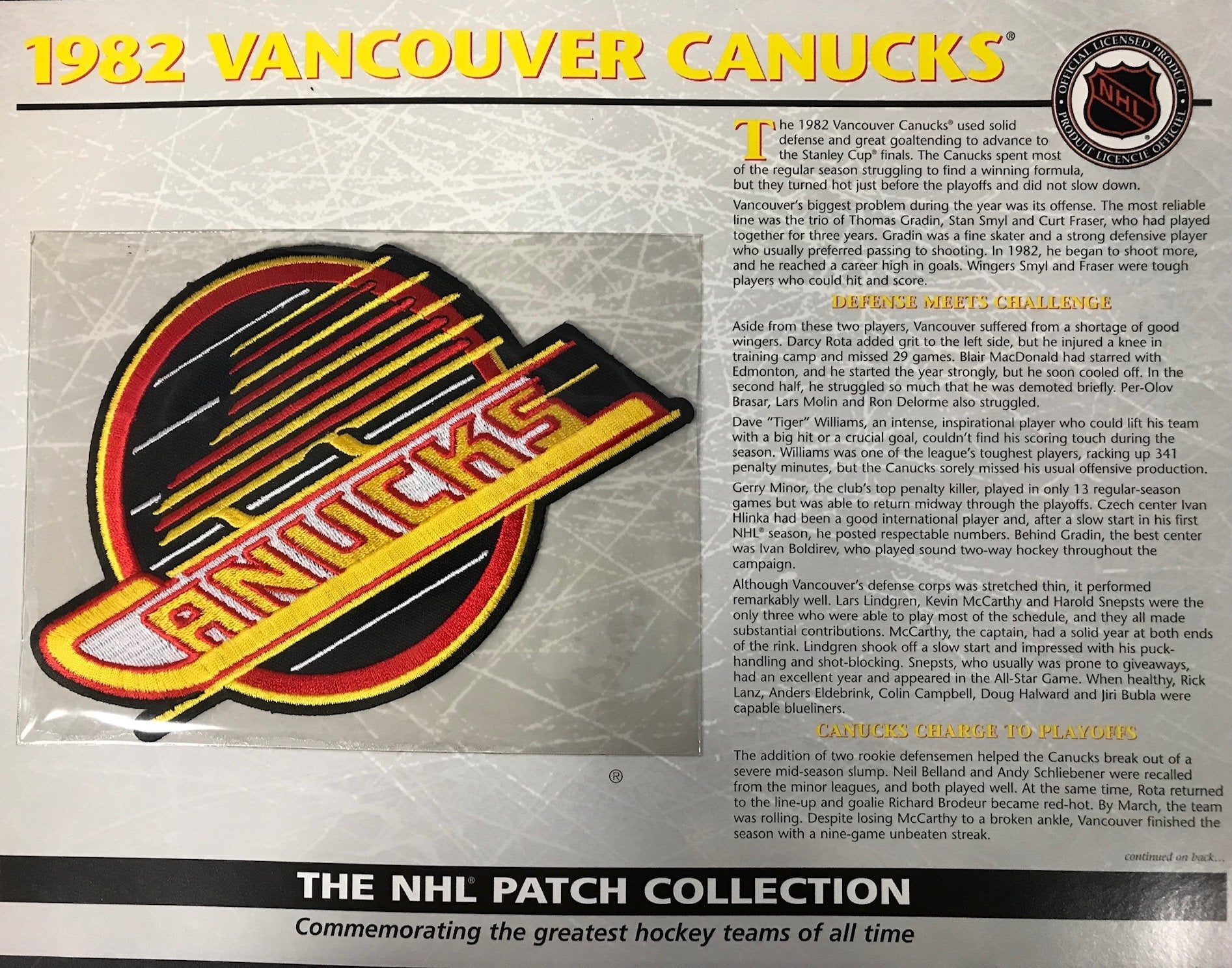 NHL 1982 Vancouver Canucks Official Patch on Team History Card PSM