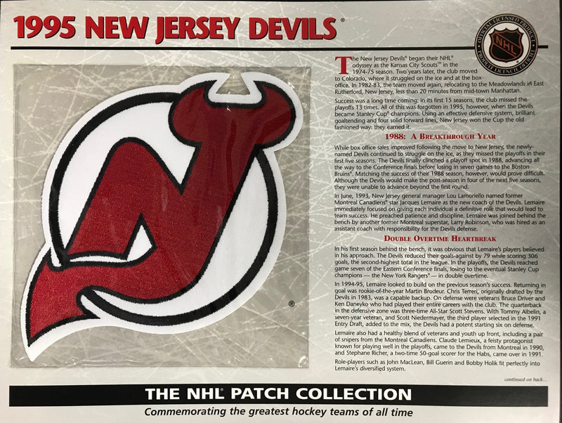 1995 New Jersey Devils Official Patch on Team History Card PSM-Powers Sports Memorabilia