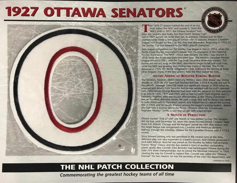 1927 Ottawa Senators Official Patch on Team History Card PSM-Powers Sports Memorabilia
