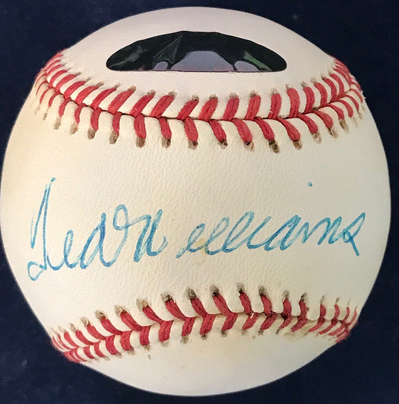 Ted Williams Signed Official American League Baseball (Green Diamond) PSM-Powers Sports Memorabilia