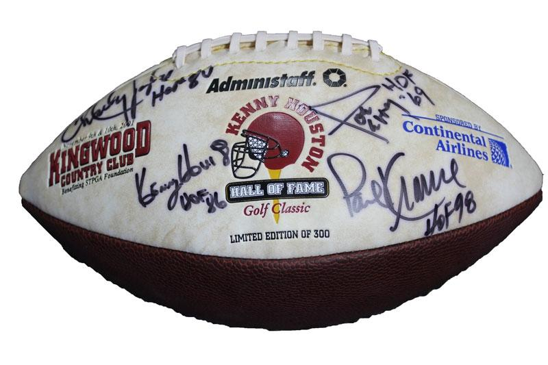 Charley Taylor, Joe Perry, Kenny Houston, & Paul Krause Autographed Football PSM-Powers Sports Memorabilia