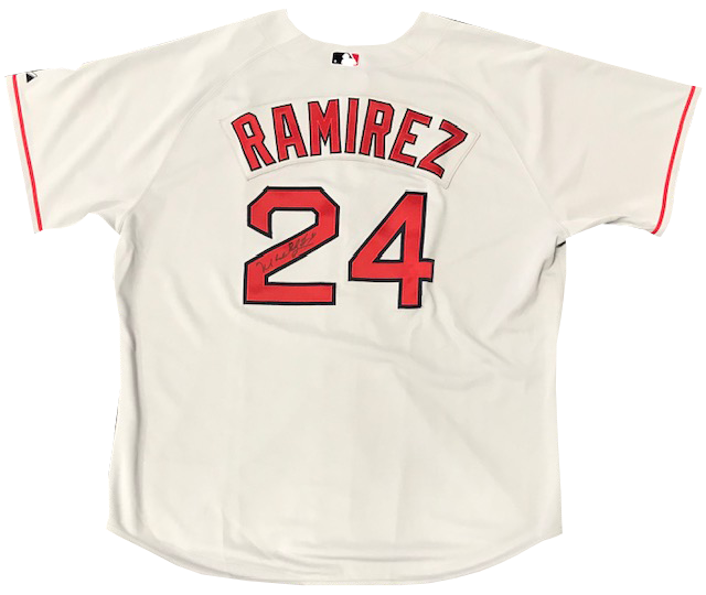 Manny Ramirez Autographed Game Used 2005 Red Sox Grey Jersey PSM-Powers Sports Memorabilia