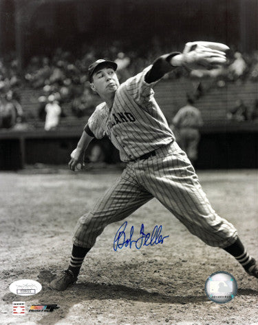Bob Feller signed Cleveland Indians 8x10 Vintage Sepia Photo- JSA Hologram (Pitching) PSM-Powers Sports Memorabilia
