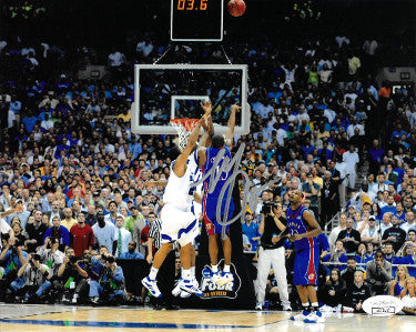 Mario Chalmers signed Kansas Jayhawks 8x10 Photo- JSA Hologram (3.6 Seconds Three Pointer-2008 National Championship) PSM-Powers Sports Memorabilia