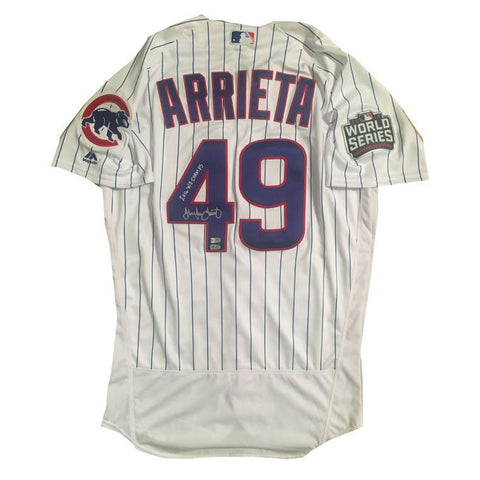 Jake Arrieta Autographed Cubs 2016 World Series Signed Baseball Jersey CHAMPS Fanatics and MLB COA 1