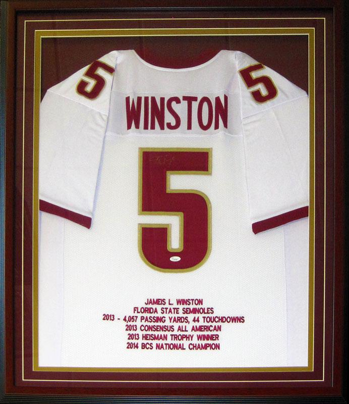 Jameis Winston Autographed Framed Florida State University Seminoles White Jersey (JSA) PSM-Powers Sports Memorabilia