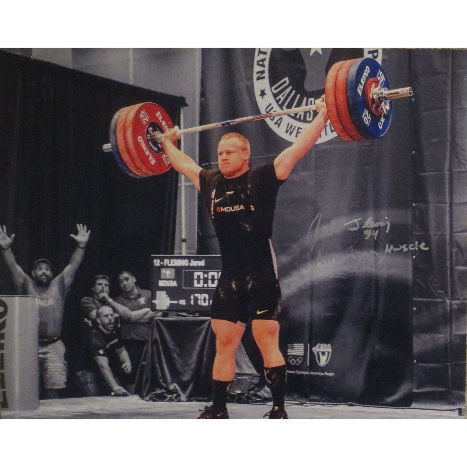 Jared Fleming Autographed USA Weightlifting American Record 170 Snatch Signed 16x20 Photo 10-Powers Sports Memorabilia