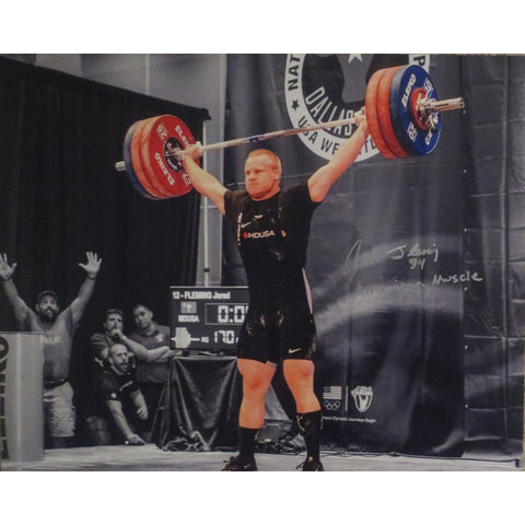 Jared Fleming Autographed USA Weightlifting American Record 170 Snatch Signed 16x20 Photo 10 Photo-Powers Sports Memorabilia