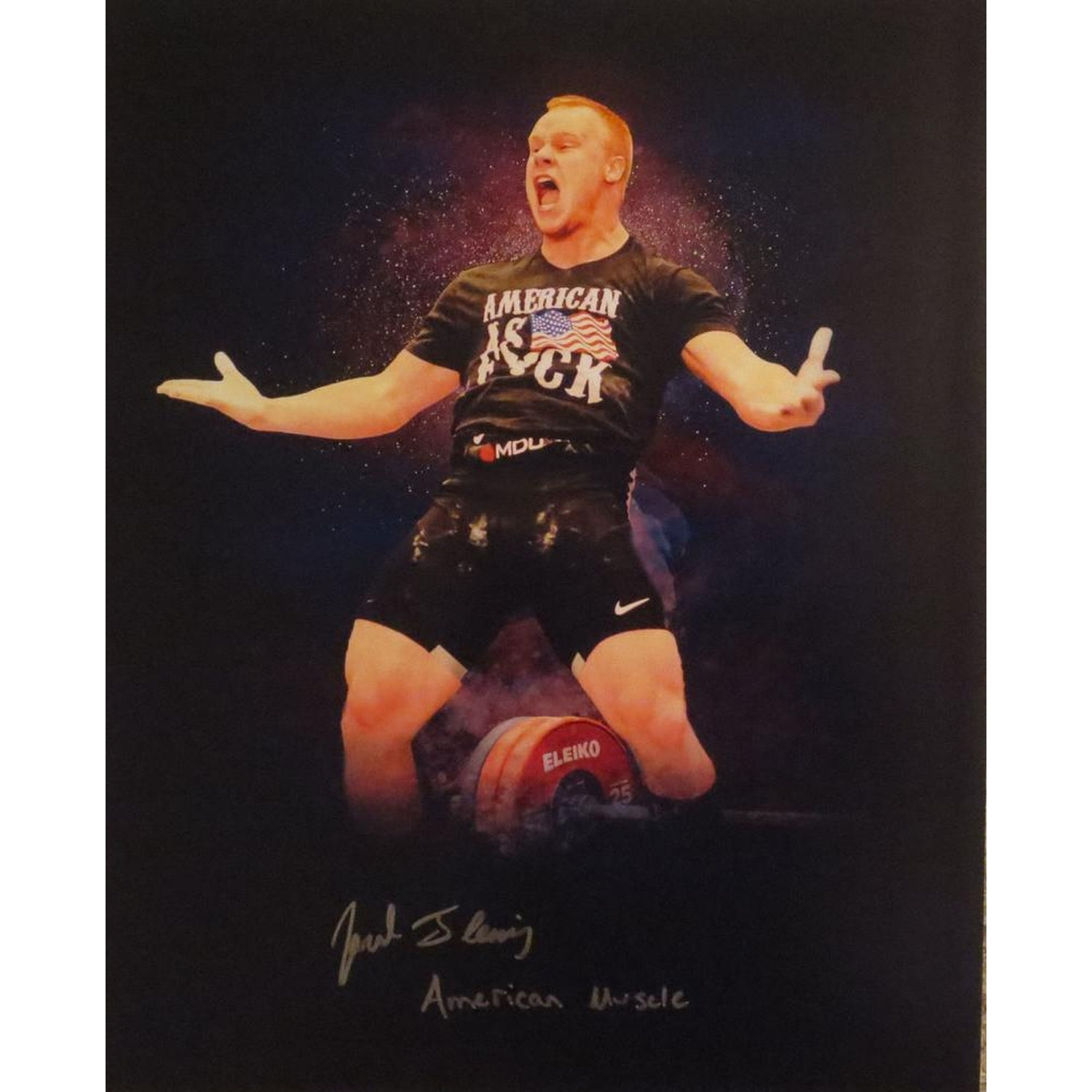 Jared Fleming Autographed USA Weightlifting American Record 170 Snatch Signed 16x20 Photo 11-Powers Sports Memorabilia