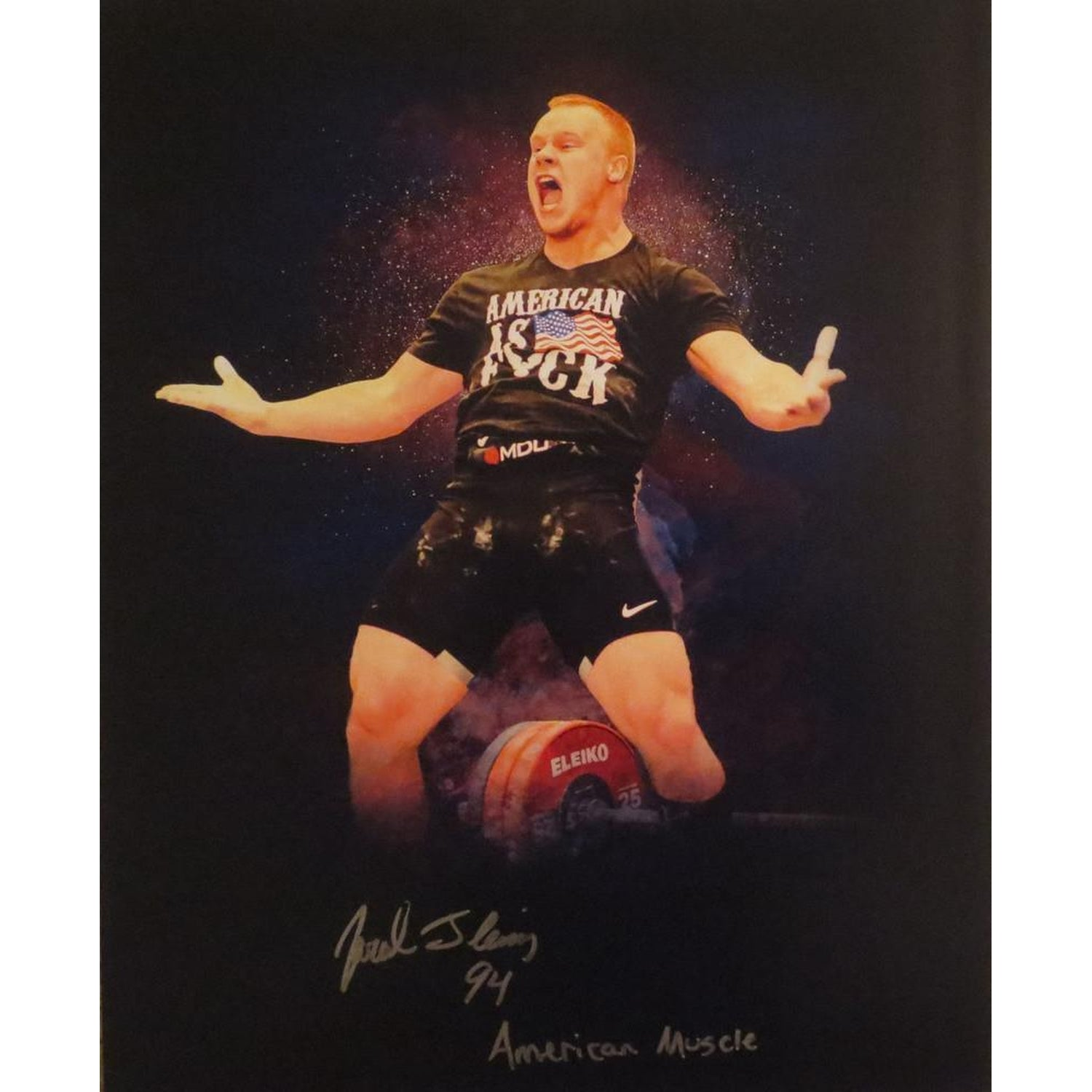 Jared Fleming Autographed USA Weightlifting American Record 170 Snatch Signed 16x20 Photo 12-Powers Sports Memorabilia