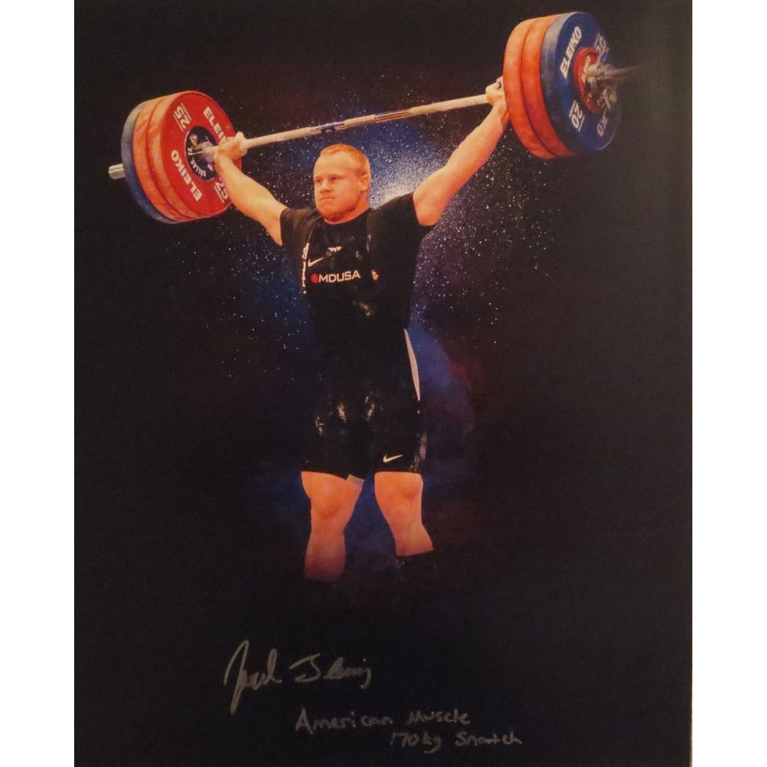 Jared Fleming Autographed USA Weightlifting American Record 170 Snatch Signed 16x20 Photo 1-Powers Sports Memorabilia