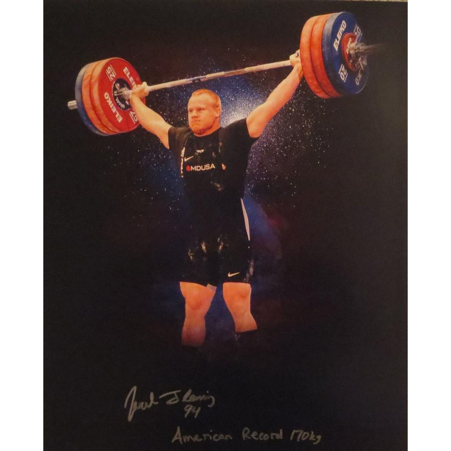 Jared Fleming Autographed USA Weightlifting American Record 170 Snatch Signed 16x20 Photo 2-Powers Sports Memorabilia