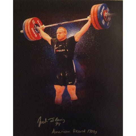 Jared Fleming Autographed USA Weightlifting American Record 170 Snatch Signed 16x20 Photo 2 Photo-Powers Sports Memorabilia