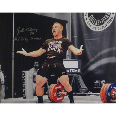 Jared Fleming Autographed USA Weightlifting American Record 170 Snatch Signed 16x20 Photo 3 Photo-Powers Sports Memorabilia