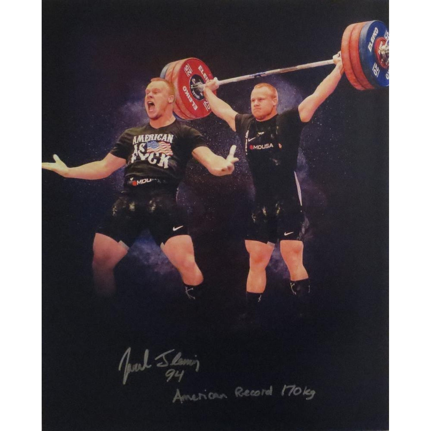 Jared Fleming Autographed USA Weightlifting American Record 170 Snatch Signed 16x20 Photo 6 Photo-Powers Sports Memorabilia
