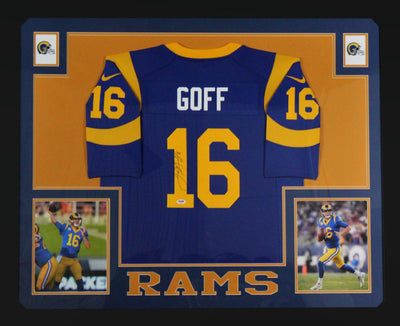 Jared Goff Autographed Los Angeles Rams Signed Nike Game Blue Framed Jersey PSA DNA COA-Powers Sports Memorabilia