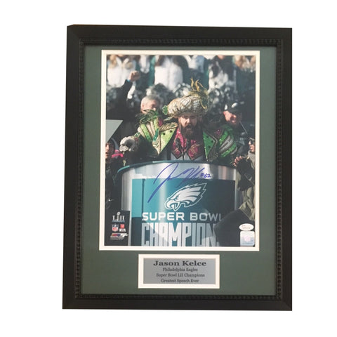 Jason Kelce Autographed Philadelphia Eagles Super Bowl LII 52 Parade Speech Signed 11x14 Framed Photo JSA COA (pre-order)-Powers Sports Memorabilia