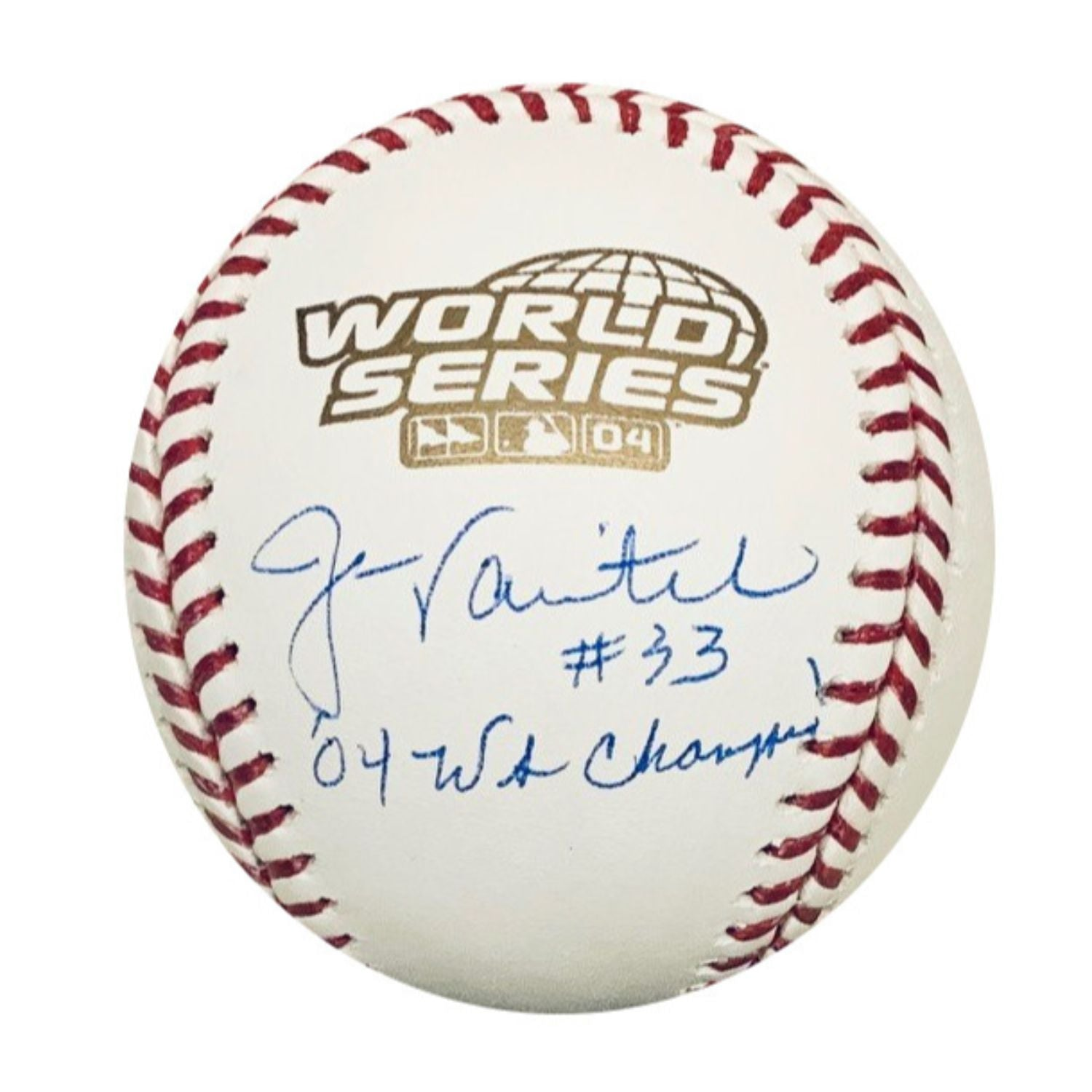 Jason Varitek Boston Red Sox MLB Autographed 2004 World Series Signed Baseball NEP COA With UV Display Case-Powers Sports Memorabilia