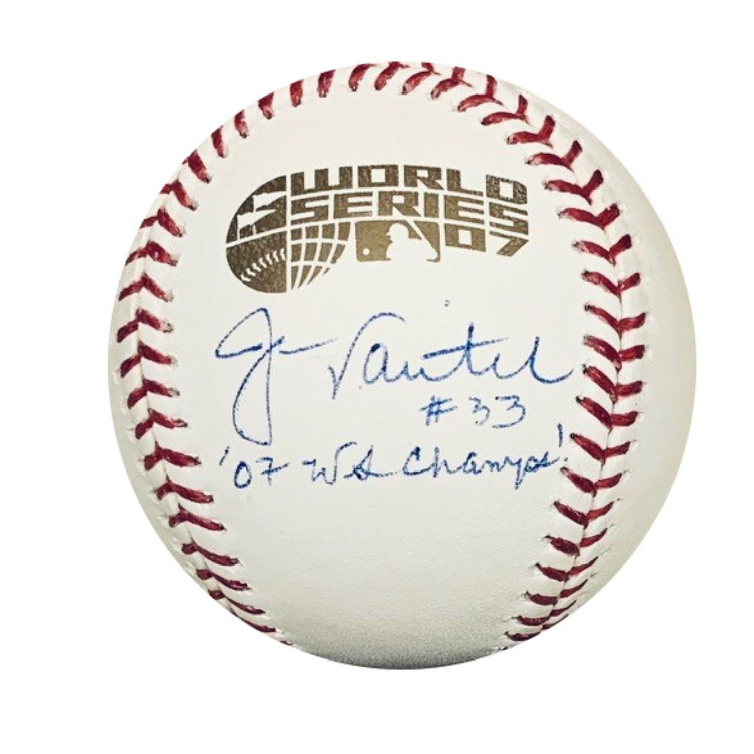 Jason Varitek Boston Red Sox MLB Autographed 2007 World Series Signed Baseball NEP COA With UV Display Case-Powers Sports Memorabilia