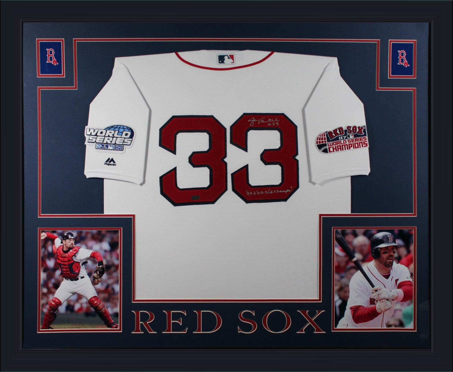 Jason Varitek Autographed Boston Red Sox MLB Signed 2004 2007 World Series Baseball Framed Jersey NEP COA-Powers Sports Memorabilia