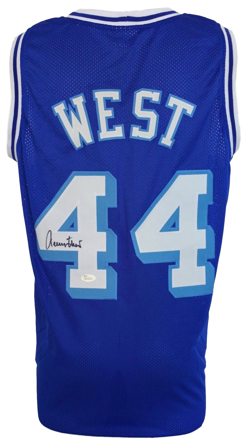 Jerry West Signed Custom Blue Pro-Style Basketball Jersey JSA PSM-Powers Sports Memorabilia
