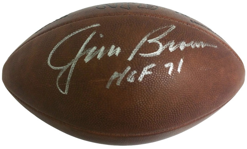 Jim Brown Signed Official Vintage NFL Duke Football HOF 71 PSA LOA PSM-Powers Sports Memorabilia